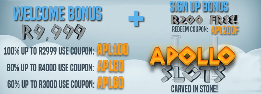 Get a R200 No Deposit AND a R9'999 Welcome Bonus at Apollo Slots