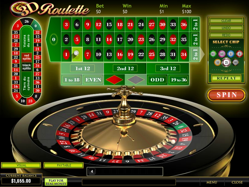 Play 3D Roulette at Casino.com
