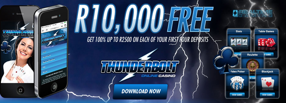 Thunderbolt Online Casino - 4 Stage R10'000 Welcome Bonus