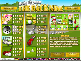 Hole In Won Back Nine Paytable Screenshot